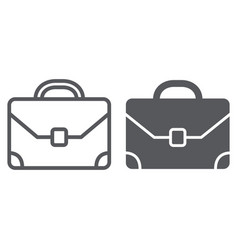 briefcase line and glyph icon baggage and bag vector image