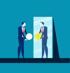 Businessman with ideas while mirror reflecting vector
