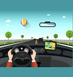 car with gps navigation on road hands on steering vector image