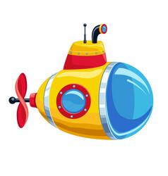 Cartoon yellow and red submarine vector