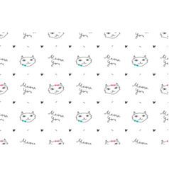 Cats in love pattern vector