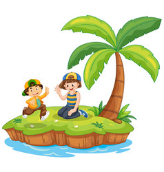 Children on island scene vector