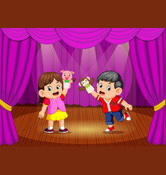 Children playing puppet in the stage vector