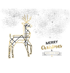christmas and new year abstract gold line deer vector image