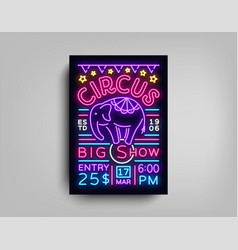 Circus flyer in neon style circus show with vector