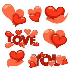 Collection of heart hands and love logo concept vector
