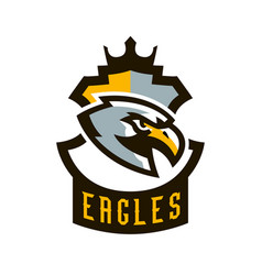 Colorful logo sticker emblem of a eagle flying vector