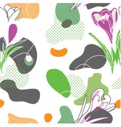 crocuses flowers abstract liquid pattern vector image