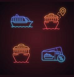 cruise neon light icons set vector image