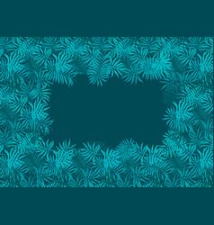 Deep emerald green frame of fern tropical leaves vector