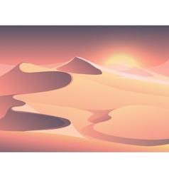 Desert sunset landscape with sand dunes vector