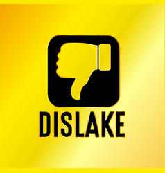 Dislike emblem with golden background vector