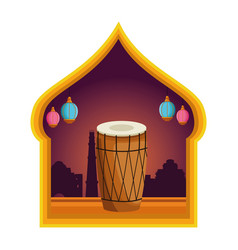 Drum mridangam icon cartoon isolated vector