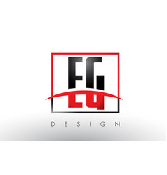 Eg e g logo letters with red and black colors and vector