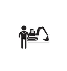 excavator working black concept icon vector image