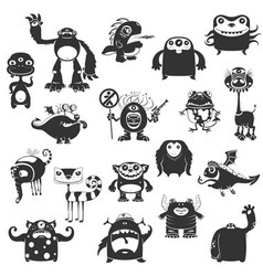 Funny Monsters Silhouette vector