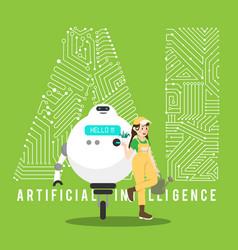 Gardener and robot with ai mechanism vector