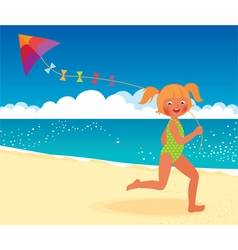 Girl with a kite on the beach running vector