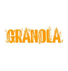 Granola logo template with handwritten calligraphy vector