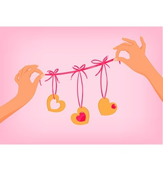 hands holding cute Valentines day garland with vector image