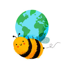 happy bee cartoon holding planet earth isolated vector image