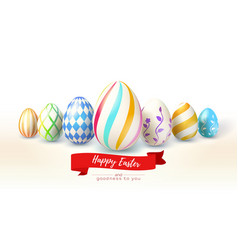 happy easter design of festive greetings cards vector image