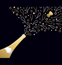 happy new year 2018 gold party drink bottle splash vector image