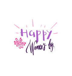 happy women day card background hand drawn badge vector image