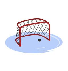 hockey goal in cartoon style isolated image vector image