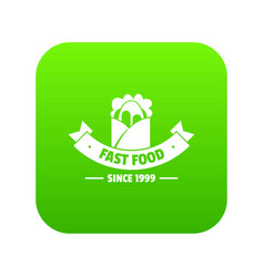 hot fast food icon green vector image