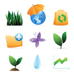 Icons for nature energy and ecology vector image