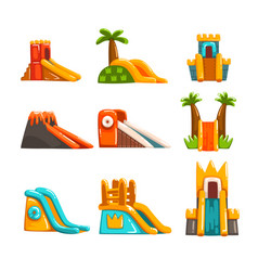 Inflatable slides set summer amusement park vector