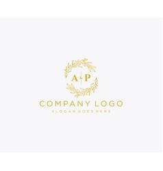Initial ap letters floral frames monogram wedding vector
