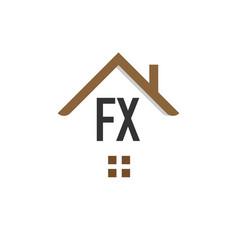 Initial letter fx building logo design template vector