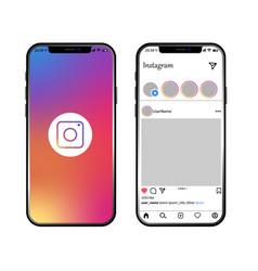 Instagram post template on iphone vector