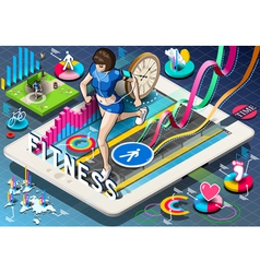 Isometric Infographic with Jogging Woman vector image
