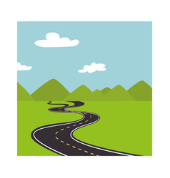 Landscape with mountains and road way vector
