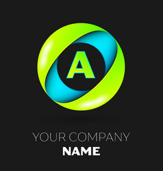 Letter a logo symbol in the colorful circle vector