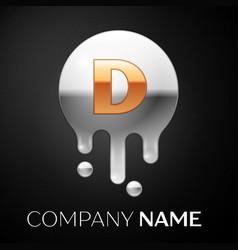 Letter d splash logo golden dots silver bubbles vector