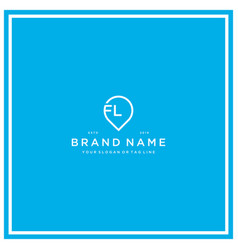 Letter fl pin logo design vector