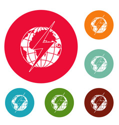 Lightning on earth icons circle set vector
