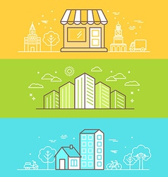 Linear Buildings Icons vector image