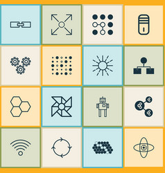 Machine icons set collection algorithm vector