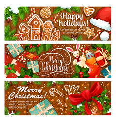Merry christmas gingerbread greeting banner vector