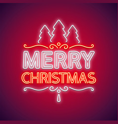 merry christmas neon sign red with decor vector image