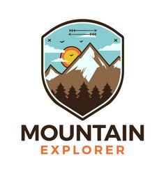 Mountain explorer logo retro camping adventure vector