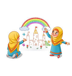 Muslim girls draw palace with rainbow on the wall vector
