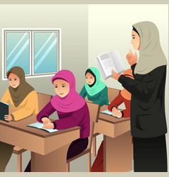 Muslim students in a classroom with her teacher vector