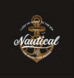 Nautical t shirt print with anchor vector
