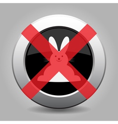 No white Easter bunny - metal button vector